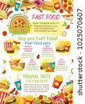 fastfood menu or restaurant and ... | Shutterstock .eps vector #1025070607