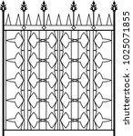 wrought iron gate  ornamental... | Shutterstock .eps vector #1025071855