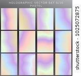 hologram vector background set | Shutterstock .eps vector #1025072875