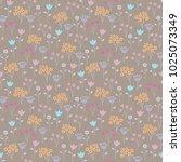 vintage seamless little flowers.... | Shutterstock .eps vector #1025073349