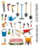 gardening tools flat isolated... | Shutterstock .eps vector #1025075869