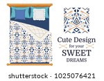 cute design for bed linen ... | Shutterstock .eps vector #1025076421