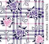 roses on plaid background | Shutterstock .eps vector #1025077621