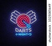 darts neon sign. vector... | Shutterstock .eps vector #1025085649