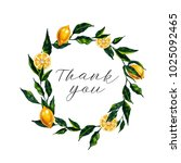 thank you card. watercolor... | Shutterstock . vector #1025092465