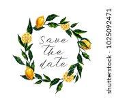 watercolor lemon wreath. ... | Shutterstock . vector #1025092471
