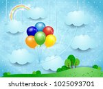 surreal landscape with hanging... | Shutterstock .eps vector #1025093701
