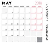calendar planner for may 2018.... | Shutterstock .eps vector #1025095774
