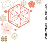 pink and gold japanese pattern... | Shutterstock .eps vector #1025098321