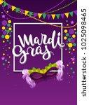 mardi gras handwritten text... | Shutterstock . vector #1025098465