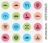 automobile icons set with... | Shutterstock .eps vector #1025100625
