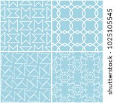 geometric patterns. set of blue ... | Shutterstock .eps vector #1025105545