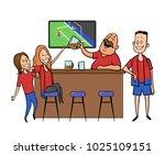 beer bar   restaurant. football ... | Shutterstock .eps vector #1025109151