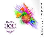 happy holi greeting vector... | Shutterstock .eps vector #1025110909