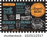bagels restaurant menu. vector... | Shutterstock .eps vector #1025112517