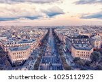 champs elysee avenue in paris | Shutterstock . vector #1025112925