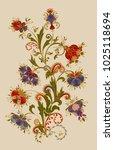 bouquet of fantastic flowers.... | Shutterstock .eps vector #1025118694