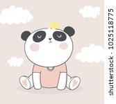 panda vector print. love panda. ... | Shutterstock .eps vector #1025118775