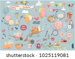 Stock vector set with birthday animals and elements 1025119081