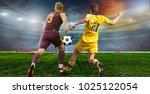 soccer ball on the field of...   Shutterstock . vector #1025122054