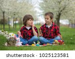 two children  boy brothers ... | Shutterstock . vector #1025123581