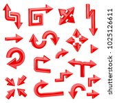 red 3d arrows. different... | Shutterstock .eps vector #1025126611