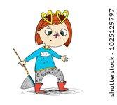 cute cartoon little girl in red ... | Shutterstock .eps vector #1025129797