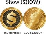 set of physical golden coin... | Shutterstock .eps vector #1025130907