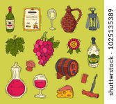 wine vector alcohol in... | Shutterstock .eps vector #1025135389