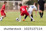 young children players match on ... | Shutterstock . vector #1025137114