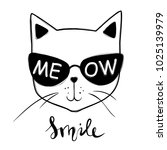 card with cute fashion cat.... | Shutterstock . vector #1025139979