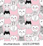 funny cat seamless pattern.... | Shutterstock . vector #1025139985