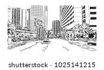 downtown road view with... | Shutterstock .eps vector #1025141215
