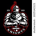 Emblem Of Knight With Sword On...