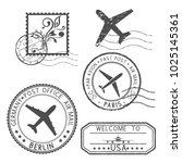 postal elements. stamps and... | Shutterstock . vector #1025145361