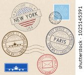 postmarks and tourist stamps on ... | Shutterstock . vector #1025145391