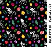 seamless pattern. skeletons of... | Shutterstock .eps vector #1025153785