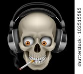 Raster version. Skull with headphones with a cigarette. Illustration on black background - stock photo