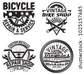 set of vintage bicycles club... | Shutterstock .eps vector #1025157685