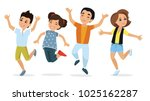 happy school multiracial... | Shutterstock .eps vector #1025162287