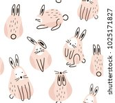 Stock vector seamless childish pattern with cute rabbits creative kids texture for fabric wrapping textile 1025171827