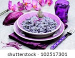 rice with red cabbage - italian recipe - stock photo