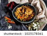 prawn with rice   closeup of... | Shutterstock . vector #1025178361