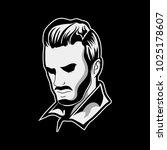 handsome man head barbershop... | Shutterstock .eps vector #1025178607