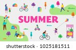 summer outdoor scene with... | Shutterstock .eps vector #1025181511