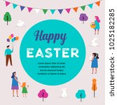 happy easter scene with... | Shutterstock .eps vector #1025182285