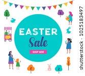 happy easter scene with... | Shutterstock .eps vector #1025183497