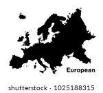 black silhouette european map... | Shutterstock .eps vector #1025188315