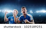 happy soccer player celebrate a ... | Shutterstock . vector #1025189251