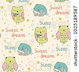 cartoon sleeping owls. cute...   Shutterstock .eps vector #1025189587